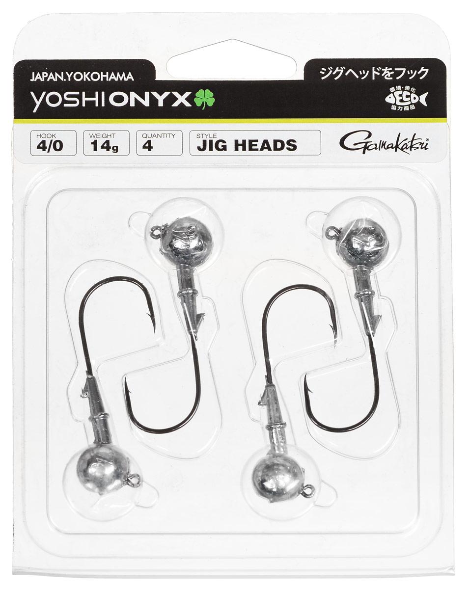Джиг-головка Yoshi Onyx, крючок Gamakatsu 4/0, 14 г, 4 шт97999Джиг-головки Yoshi Onyx предназначены в первую очередь для донной спиннинговой ловли - джиг спиннинга. Джиг головками оснащаются всевозможные мягкие приманки: виброхвосты, твистеры, силиконовые рачки и черви. Возможно их применение и с естественными насадками, к примеру, при ловле судака бортовой удочкой на мертвую рыбку или кусочки рыбы. Джиг-головка оснащена крючком Gamakatsu. Такой крючок прекрасно пробивает жесткую пасть крупного судака, щуки и сома. Вес: 14 г. Количество: 4 шт. Крючок: Gamakatsu 4/0.