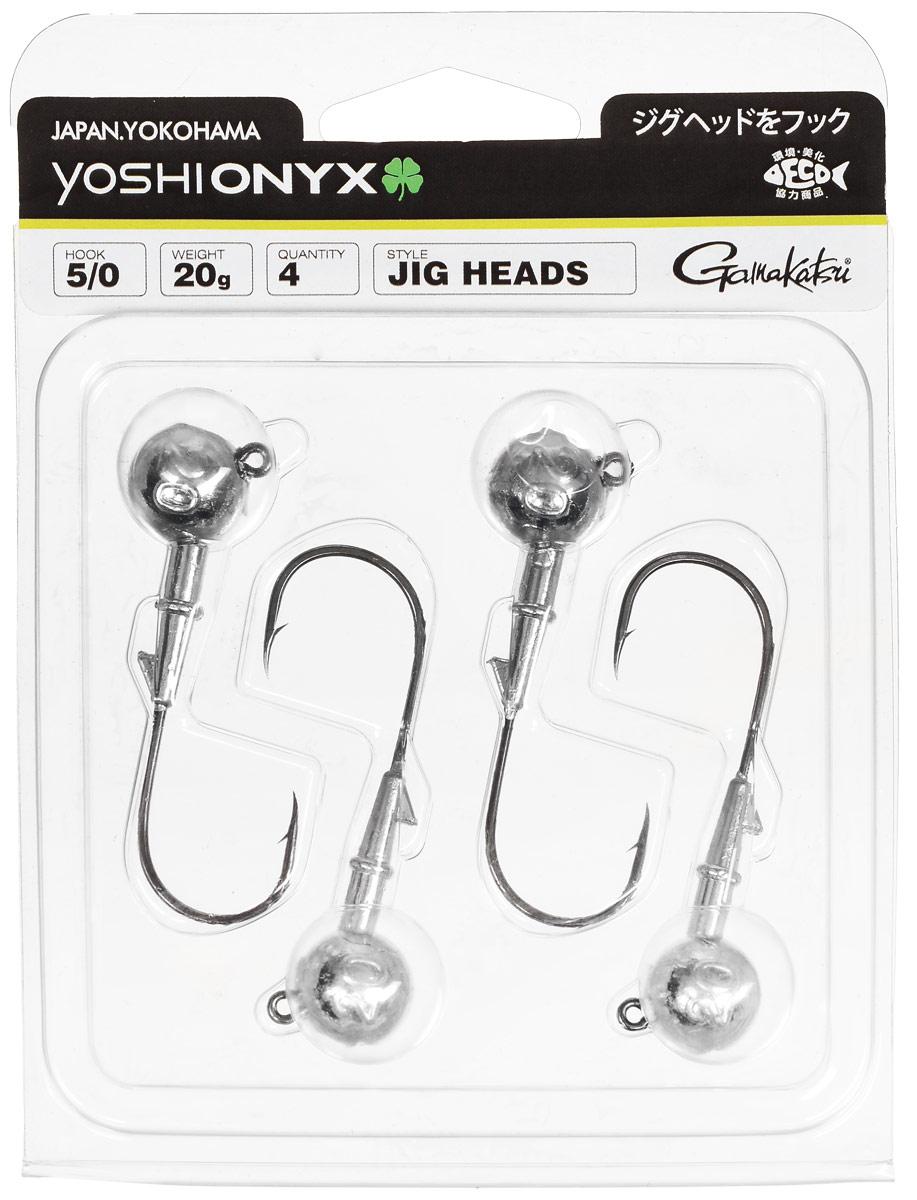 Джиг-головка Yoshi Onyx, крючок Gamakatsu 5/0, 20 г, 4 шт98013Джиг-головки Yoshi Onyx предназначены в первую очередь для донной спиннинговой ловли - джиг спиннинга. Джиг головками оснащаются всевозможные мягкие приманки: виброхвосты, твистеры, силиконовые рачки и черви. Возможно их применение и с естественными насадками, к примеру, при ловле судака бортовой удочкой на мертвую рыбку или кусочки рыбы. Джиг-головка оснащена крючком Gamakatsu. Такой крючок прекрасно пробивает жесткую пасть крупного судака, щуки и сома. Вес: 20 г. Количество: 4 шт. Крючок: Gamakatsu 5/0.