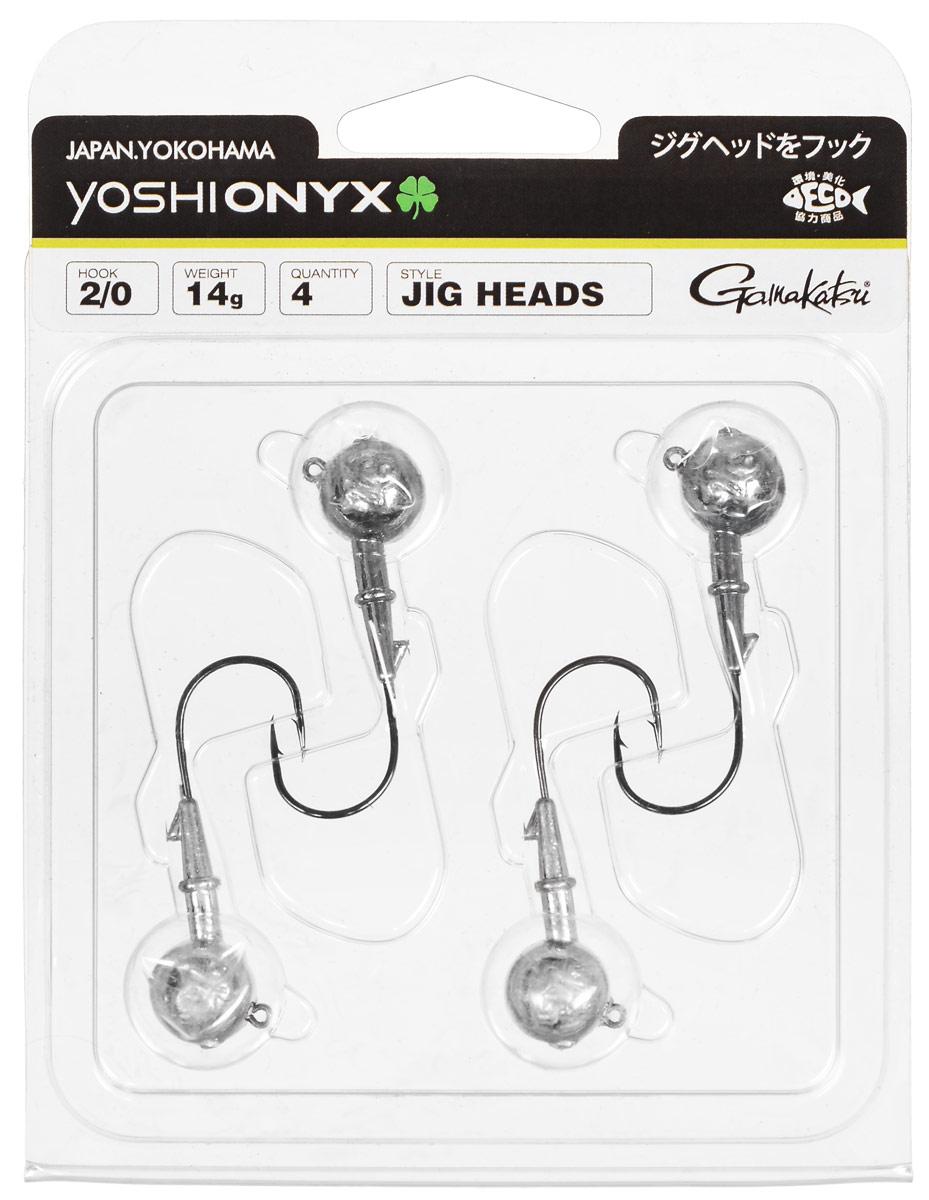 Джигголовка Yoshi Onyx, крючок Gamakatsu 2/0, 14 г, 4 шт97991Джигголовки Yoshi Onyx предназначены в первую очередь для донной спиннинговой ловли - джиг спиннинга. Джиг головками оснащаются всевозможные мягкие приманки: виброхвосты, твистеры, силиконовые рачки и черви. Возможно их применение и с естественными насадками, к примеру, при ловле судака бортовой удочкой на мертвую рыбку или кусочки рыбы. Джигголовка оснащена крючком Gamakatsu. Такой крючок прекрасно пробивает жесткую пасть крупного судака, щуки и сома. Вес: 14 г. Количество: 4 шт. Крючок: Gamakatsu 2/0.