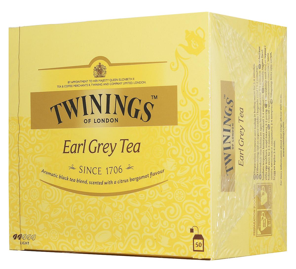 Twinings Earl Grey чай черный в пакетиках, 50 шт701159Черный чай Twinings Earl Grey является неотъемлемой частью традиционного английского чаепития. Насыщенный черный чай, ароматизированный натуральным маслом из кожуры бергамота, дает яркий настой со сладким ароматом и цитрусовым привкусом.