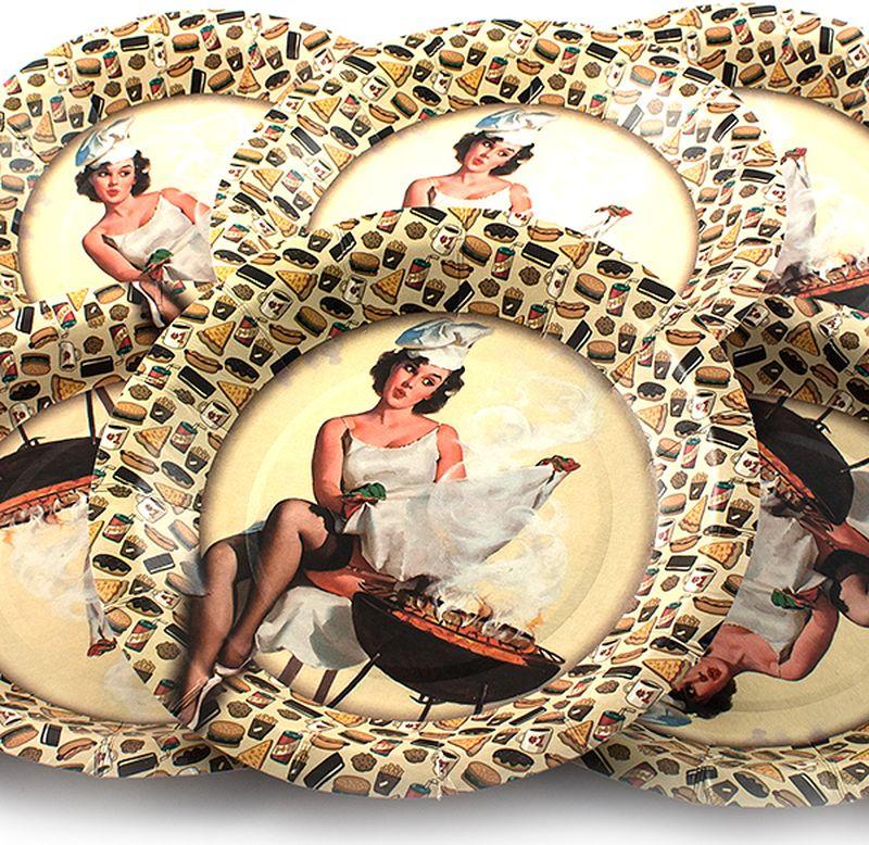 Набор тарелок Эврика Девушка с мангалом, 6 шт96941Набор картонных тарелочек с красочным рисунком. Количество тарелочек в наборе 6 шт, диаметр тарелочки 19 см, глубина 2.5см.
