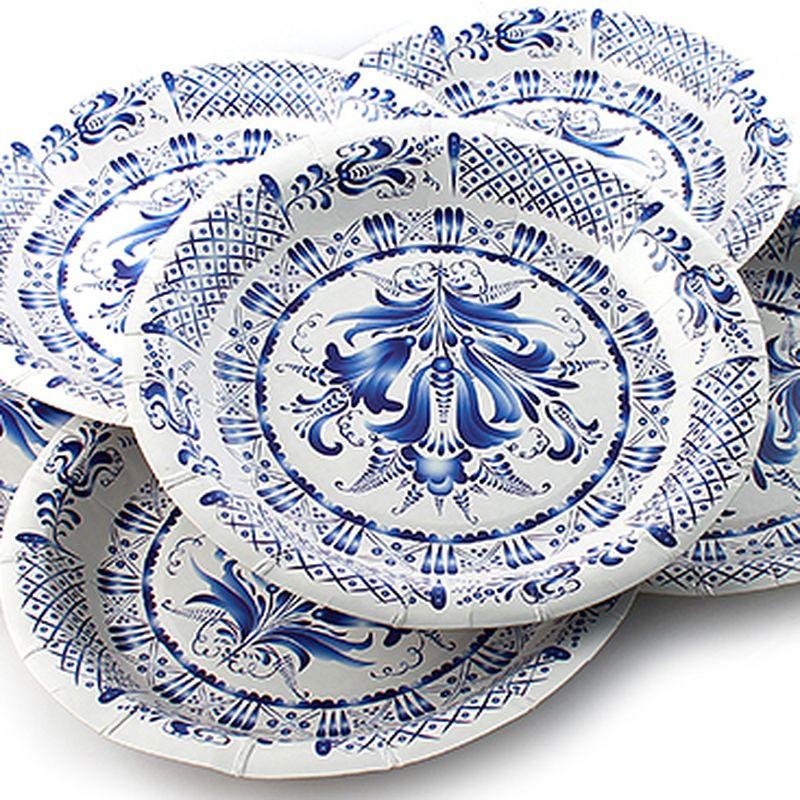 Набор тарелок Эврика Гжель, 6 шт96945Набор картонных тарелочек с красочным рисунком. Количество тарелочек в наборе 6 шт, диаметр тарелочки 19 см, глубина 2.5см.