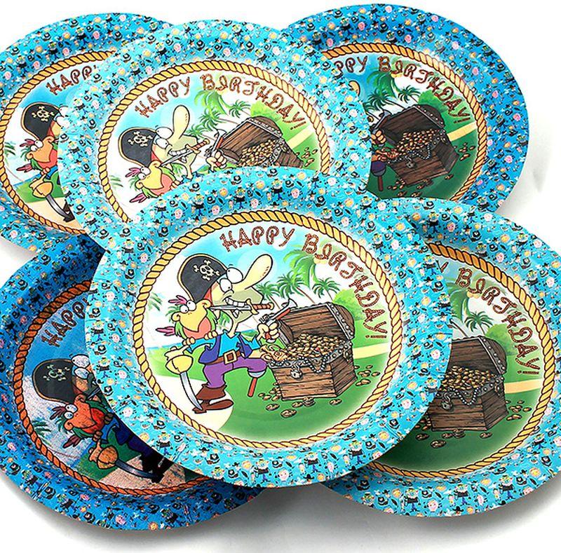 Набор тарелок Эврика Пират, 6 шт96978Набор картонных тарелочек с красочным рисунком. Количество тарелочек в наборе 6 шт, диаметр тарелочки 19 см, глубина 2.5см.
