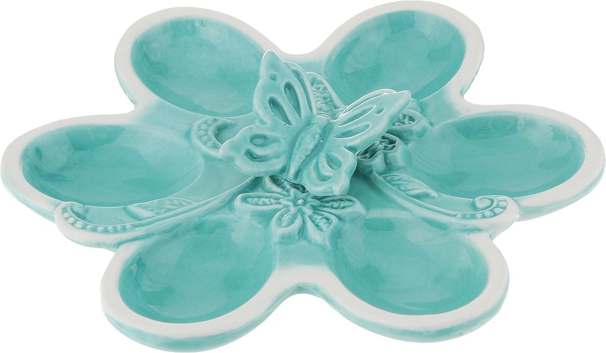 Тарелка для фаршированных яиц Azur, 18 х 11 х 3,5 см216680Тарелка для фаршированных яиц Azur, изготовленная из высококачественной керамики, украсит ваш праздничный стол. На изделии имеются специальные углубления для 6 яиц. Тарелка оформлена фигуркой бабочки. Такая тарелка украсит сервировку вашего стола и подчеркнет прекрасный вкус хозяйки. Не рекомендуется применять абразивные моющие средства. Не использовать в микроволновой печи. Размер тарелки: 18 х 11 см. Высота тарелки: 3,5 см.