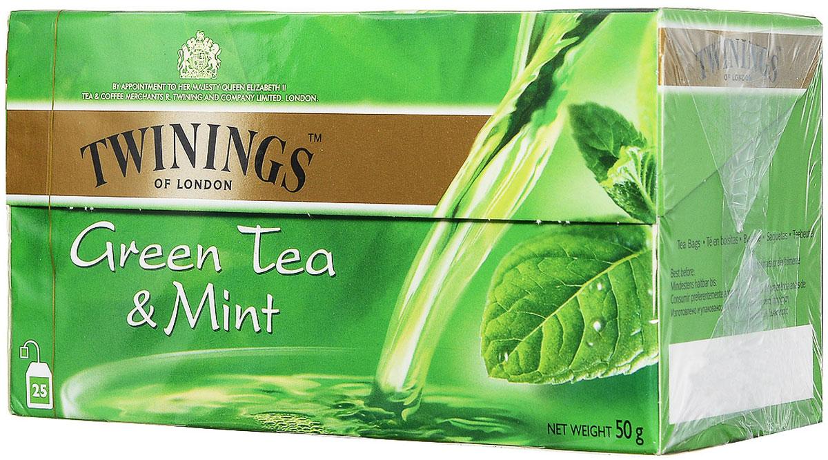 Twinings Mint зеленый чай в пакетиках, 25 шт01861Чай Twinings - это истинно английский напиток премиум-класса, который выпускается одним из лидеров международного рынка чая. Компания была основана в 1706 Томасом Твайнингом, который открыл свой частный чайный салон в Лондоне, на улице Стрэнд.