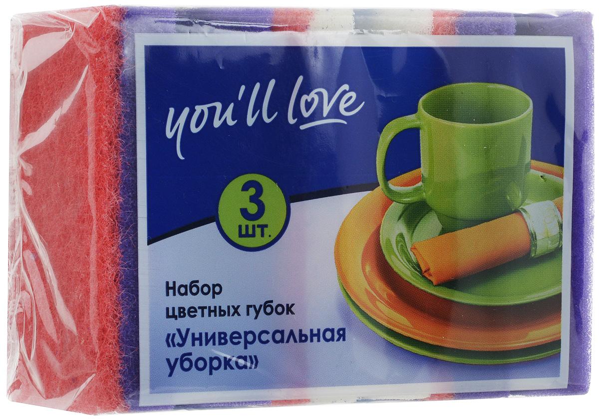 Набор губок для мытья посуды Youll love Универсальная уборка, цвет: фиолетовый, белый, 3 шт66617_фиолетовый, белый, фиолетовыйГубки Youll love Универсальная уборка выполнены из поролона и оснащены абразивным слоем. Мягкий слой используется для деликатной чистки, жесткий абразивный - для сильных загрязнений. Специальная форма губки обеспечивает комфорт во время использования. Абразивный слой не рекомендуется применять для деликатных поверхностей и посуды с тефлоновым покрытием. Размер губки: 8,5 х 6,5 х 3,6 см.