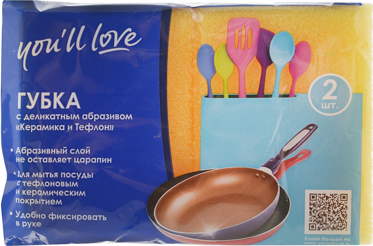 Набор губок для мытья посуды Youll love, с деликатным абразивом, цвет: желтый, 2 шт66615_желтыйГубки Youll love выполнены из поролона и оснащены деликатным абразивным слоем. Мягкий слой используется для деликатной чистки, жесткий абразивный - для более сильных загрязнений. Специальная форма губки обеспечивает комфорт во время использования. Абразивный слой можно применять для деликатных поверхностей и посуды с тефлоновым и керамическим покрытием. Размер губки: 9 х 6,5 х 4,3 см.