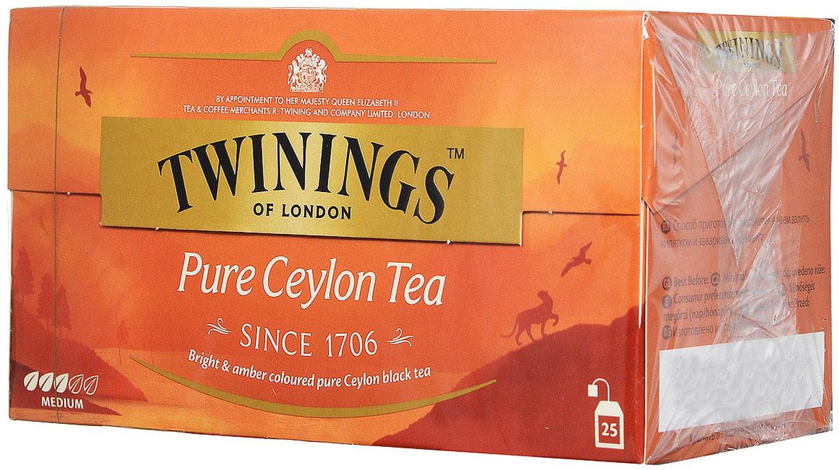 Twinings Pure Ceylon чай черный в пакетиках, 25 шт26043Цейлонский чай Twinings Pure Ceylon с ярким янтарным цветом и утонченным вкусом. Начните день с чашки душистого напитка и ощутите прилив сил и хорошего настроения.