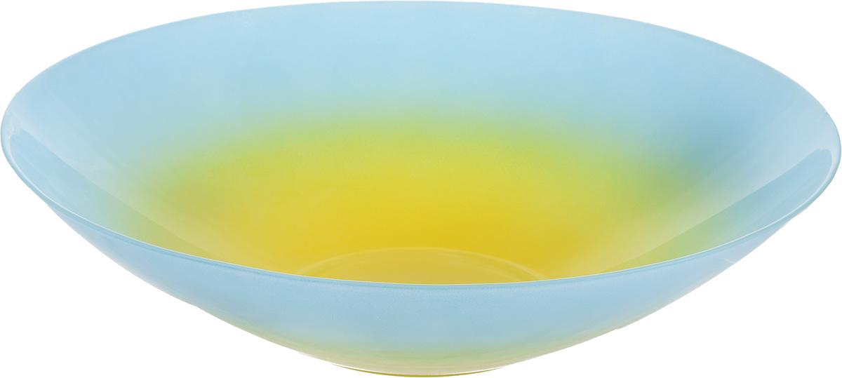 Салатник NiNaGlass Голландия, цвет: желтый, голубой, диаметр 30 см83-012-Ф30 ГОЛСалатник NiNaGlass Голландия выполнен из высококачественного стекла. Салатник идеален для сервировки салатов, овощей, ягод, фруктов, гарниров и многого другого. Он отлично подойдет как для повседневных, так и для торжественных случаев. Такой салатник прекрасно впишется в интерьер вашей кухни и станет достойным дополнением к кухонному инвентарю. Диаметр салатника (по верхнему краю): 30 см. Высота стенки: 7,5 см.