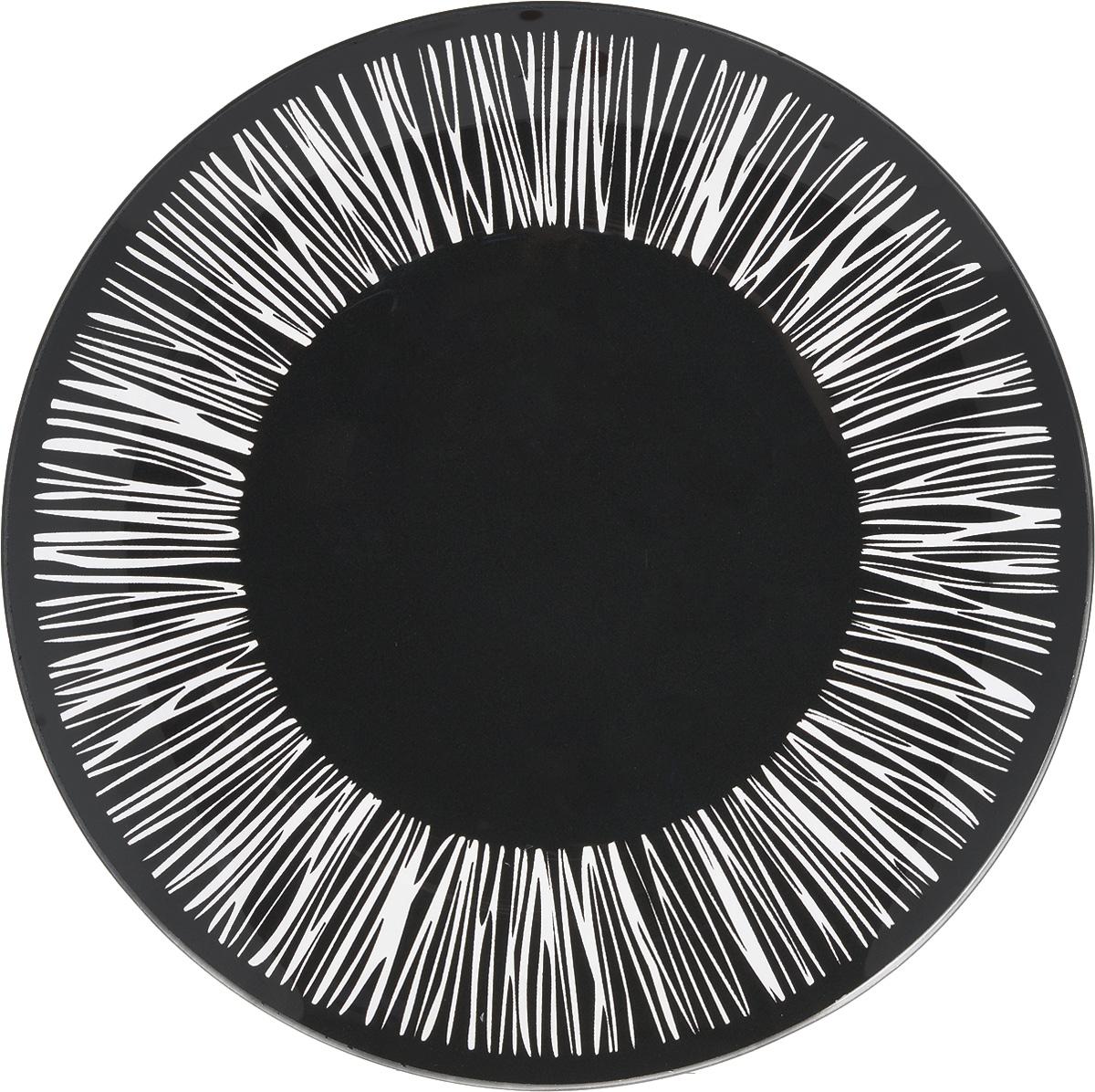 Тарелка NiNaGlass Витас, цвет: черный, диаметр 26 см85-260-016/чернТарелка NiNaGlass Витас изготовлена из высококачественного стекла. Изделие декорировано оригинальным дизайном. Такая тарелка отлично подойдет в качестве блюда, она идеальна для сервировки закусок, нарезок, горячих блюд. Тарелка прекрасно дополнит сервировку стола и порадует вас оригинальным дизайном. Диаметр тарелки: 26 см. Высота тарелки: 2,5 см.