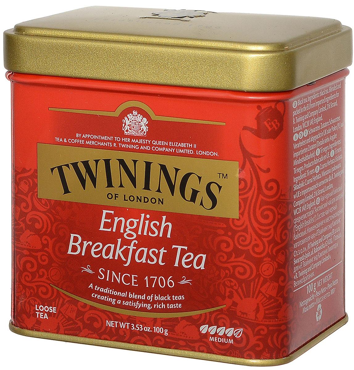 Twinings English Breakfast чай черный, 100 г01779Twinings English Breakfast - крепкий освежающий черный чай среднелистовой. Breakfast - бодрящий напиток с насыщенным вкусом и цветом. Идеально подходит для тех, кому трудно просыпаться по утрам. Он хорошо сочетается с молоком или лимоном.