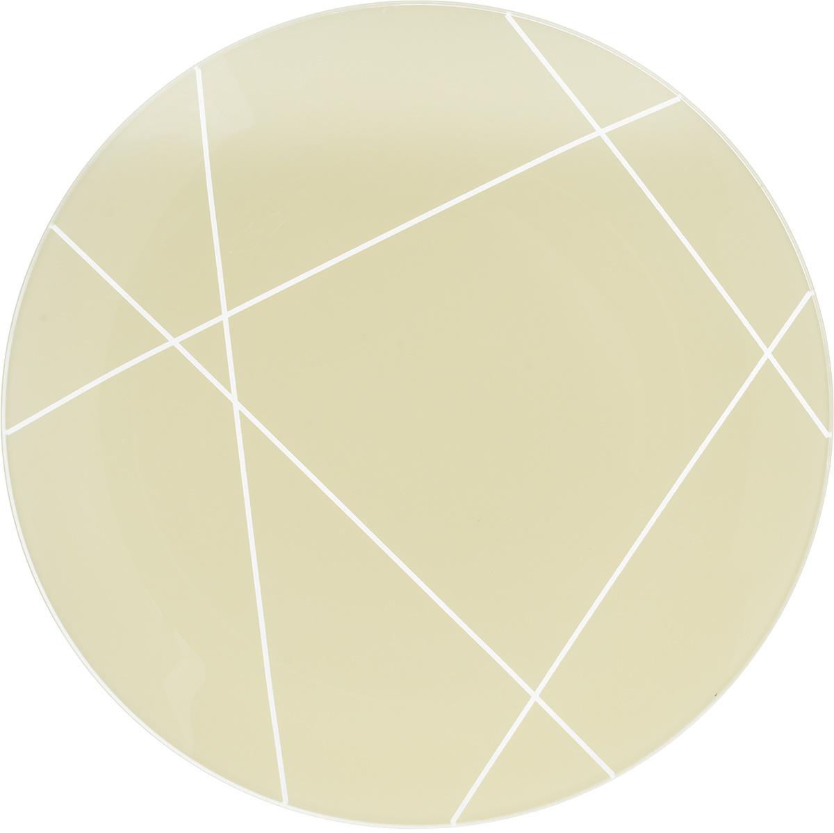 Тарелка NiNaGlass Контур, цвет: светло-бежевый, диаметр 30 см85-300-002/белТарелка NiNaGlass Виктория выполнена из высококачественного стекла и оформлена красивым прозрачным геометрическим принтом. Тарелка идеальна для подачи вторых блюд, а также сервировки закусок, нарезок, салатов, овощей и фруктов. Она отлично подойдет как для повседневных, так и для торжественных случаев. Такая тарелка прекрасно впишется в интерьер вашей кухни и станет достойным дополнением к кухонному инвентарю.