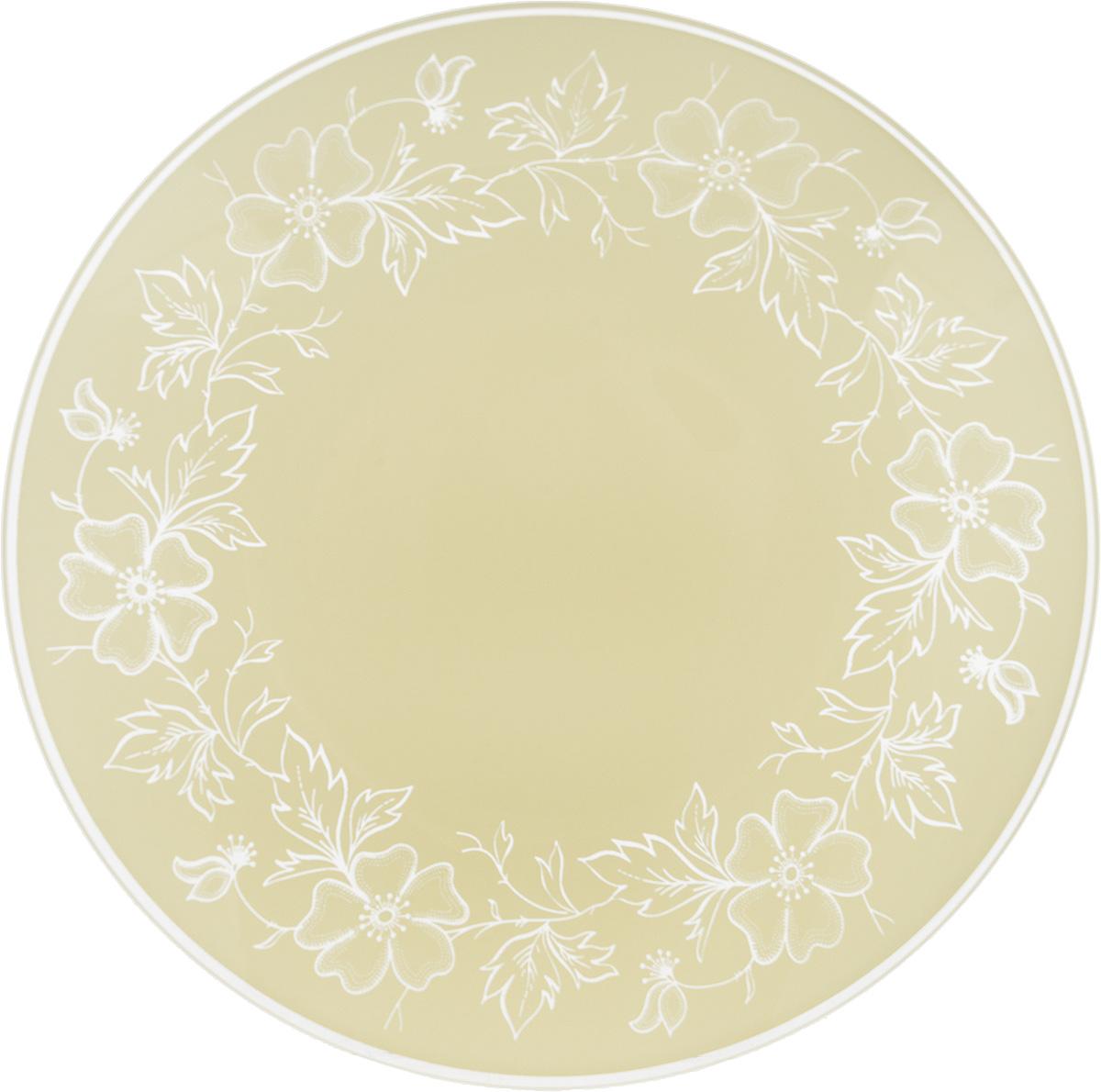 Тарелка NiNaGlass Лара, цвет: светло-бежевый, диаметр 20 см85-200-075/белТарелка NiNaGlass Лара выполнена из высококачественного стекла и оформлена красивым цветочным узором. Тарелка идеальна для подачи вторых блюд, а также сервировки закусок, нарезок, салатов, овощей и фруктов. Она отлично подойдет как для повседневных, так и для торжественных случаев. Такая тарелка прекрасно впишется в интерьер вашей кухни и станет достойным дополнением к кухонному инвентарю.