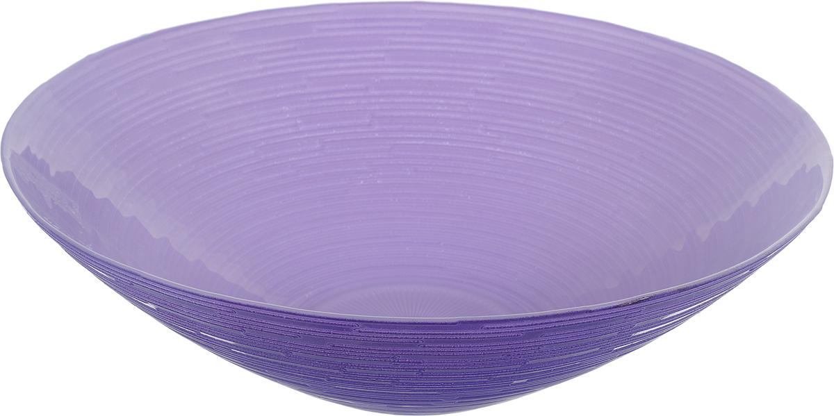 Салатник NiNaGlass Риски, цвет: фиолетовый, диаметр 25,5 см83-012-Ф25 РСИР-ФСалатник NiNaGlass Риски выполнен из высококачественного стекла. Внешние стенки оформлены рельефным узором. Салатник идеален для сервировки салатов, овощей, ягод, фруктов, гарниров и многого другого. Он отлично подойдет как для повседневных, так и для торжественных случаев. Такой салатник прекрасно впишется в интерьер вашей кухни и станет достойным дополнением к кухонному инвентарю. Диаметр салатника (по верхнему краю): 25,5 см. Высота стенки: 7,5 см.