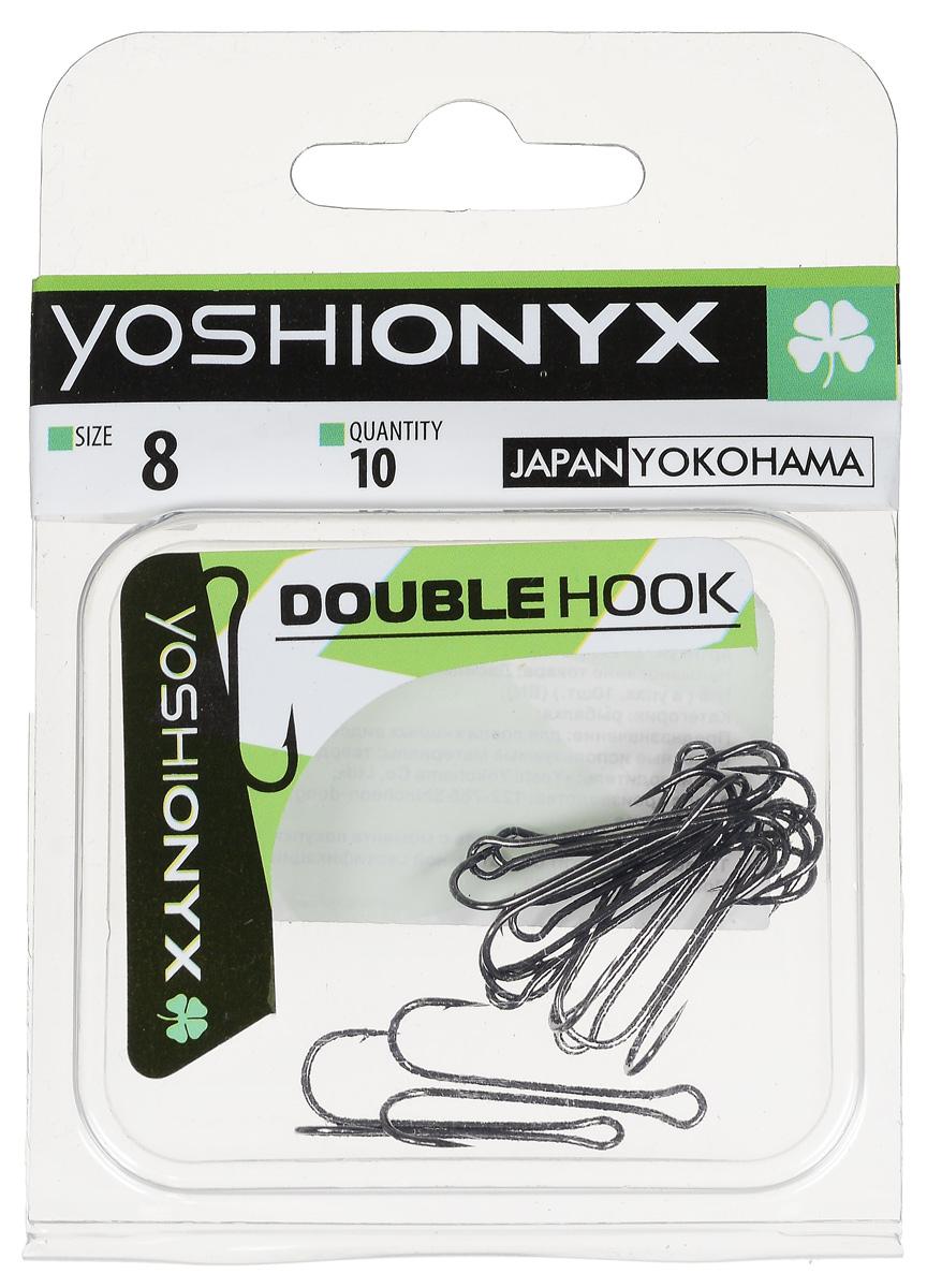 Крючок двойной Yoshi Onyx Double Hook, №8, 10 шт. BN87191Двойные крючки Yoshi Onyx Double Hook с нормальной длиной цевья достаточно универсальные и могут использоваться в самых разнообразных видах рыбной ловли. Острая лазерная заточка и сверхпрочная закаленная сталь предотвратит разгибание или обламывание крючка и сход рыбы.