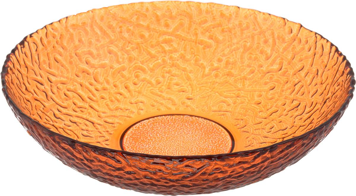 Тарелка NiNaGlass Ажур, цвет: оранжевый, диаметр 20 см83-072-ф200/h50 ОРЖТарелка NiNaGlass Ажур выполнена из высококачественного стекла и имеет рельефную внешнюю поверхность. Она прекрасно впишется в интерьер вашей кухни и станет достойным дополнением к кухонному инвентарю. Тарелка NiNaGlass Ажур подчеркнет прекрасный вкус хозяйки и станет отличным подарком. Диаметр тарелки: 20 см. Высота: 5 см.