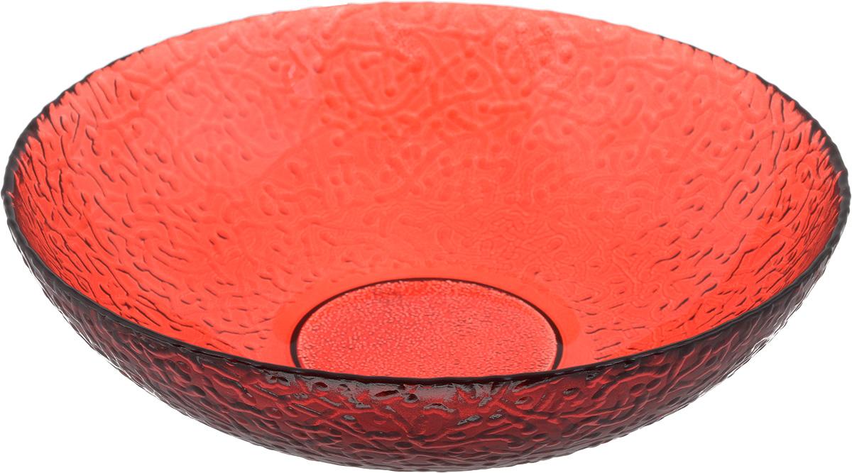 Тарелка NiNaGlass Ажур, цвет: рубиновый, диаметр 20 см83-072-ф200/H50 РУБТарелка NiNaGlass Ажур выполнена из высококачественного стекла и имеет рельефную внешнюю поверхность. Она прекрасно впишется в интерьер вашей кухни и станет достойным дополнением к кухонному инвентарю. Тарелка NiNaGlass Ажур подчеркнет прекрасный вкус хозяйки и станет отличным подарком. Диаметр тарелки: 20 см. Высота: 5 см.