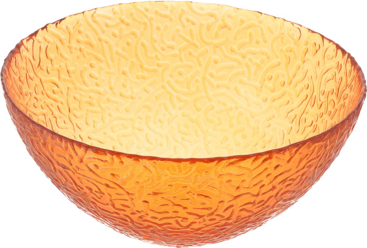 Салатник NiNaGlass Ажур, цвет: оранжевый, диаметр 20 см83-042-ф200 ОРЖСалатник NiNaGlass Ажур выполнен из высококачественного стекла и декорирован рельефным узором. Идеален для сервировки салатов, овощей и фруктов, ягод, вторых блюд, гарниров и многого другого. Он отлично подойдет как для повседневных, так и для торжественных случаев. Такой салатник прекрасно впишется в интерьер вашей кухни и станет достойным дополнением к кухонному инвентарю. Диаметр салатника (по верхнему краю): 20 см. Высота стенки: 9 см.