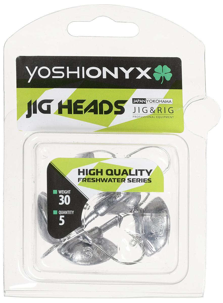 Джиг-головка Yoshi Onyx JIG Bros. Каблучок, крючок Gamakatsu, 30 г, 5 шт96518Джиг-головки Yoshi Onyx JIG Bros. Каблучок используются для огрузки спиннинговых приманок. Специально предназначены для ловли щуки на мягкие приманки на небольшой глубине рядом с водной растительностью. Благодаря особой форме, увеличивается маневренность и управляемость. Джиг-головки оснащены крючком Gamakatsu.