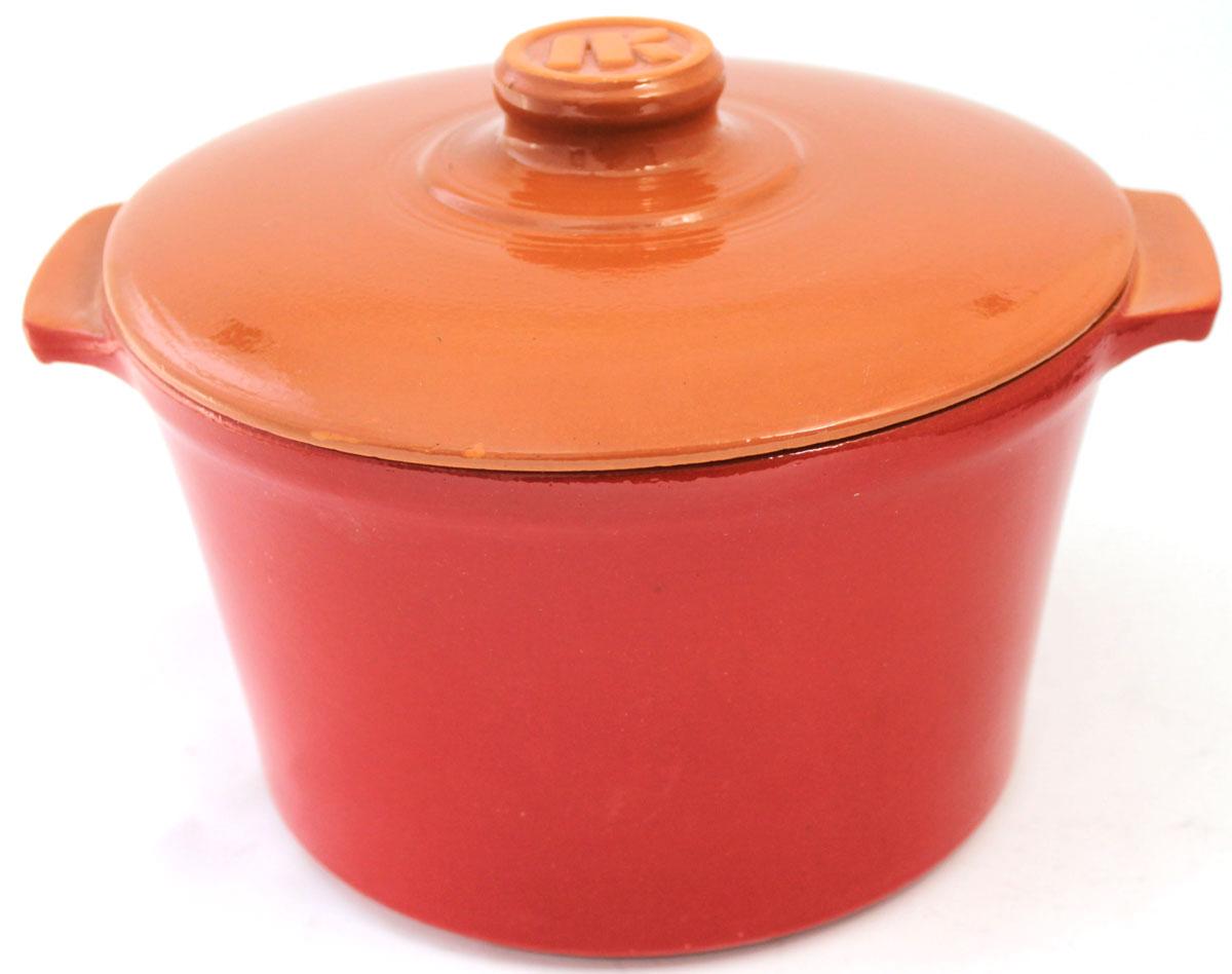 Кастрюля Ломоносовская керамика, 2 л, стеклянная крышка. Цвет: красный. 1КТкр-2С1КТкр-2С
