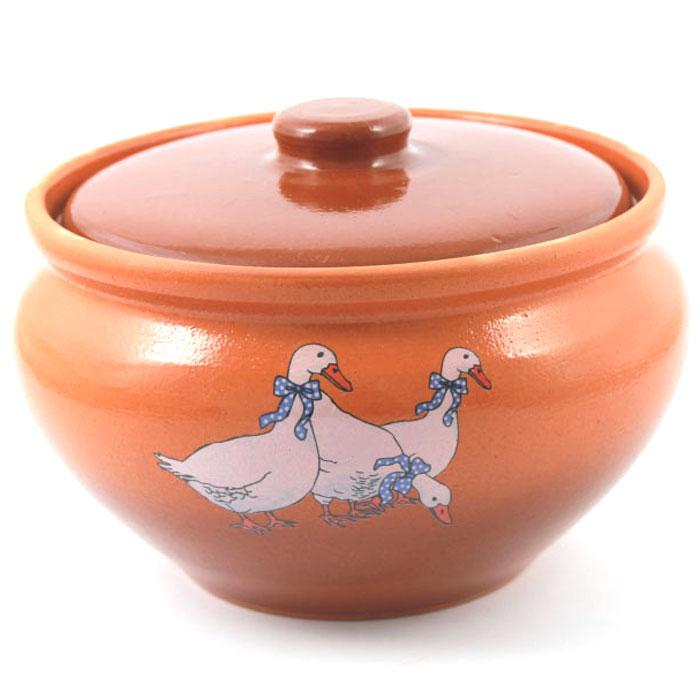 Горшочек традиционный Ломоносовская керамика Гуси, 2 л. 3ГГ-133ГГ-13