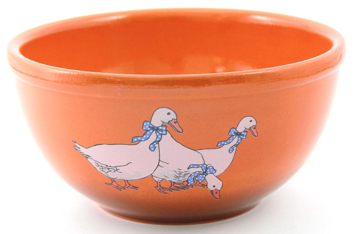 Салатник Ломоносовская керамика Гуси, 1,8 л. Диаметр: 22 см. 2СГ-32СГ-3