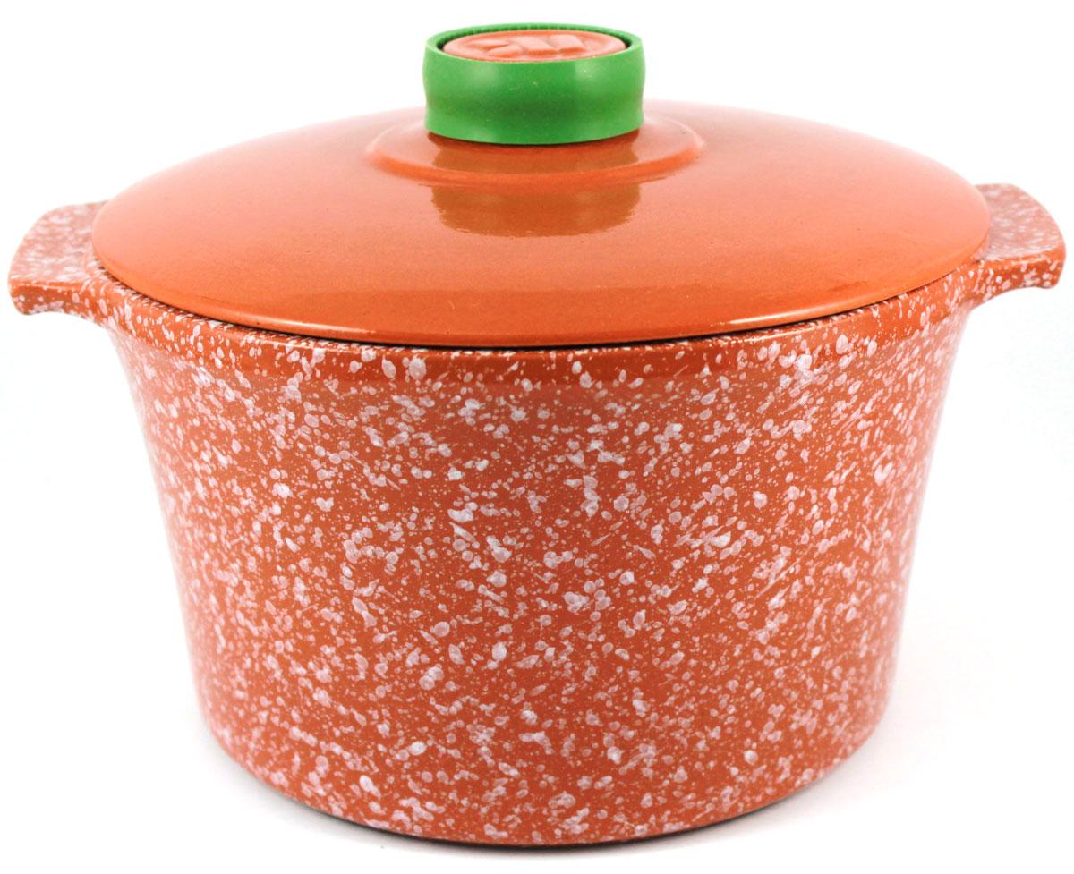 Кастрюля Ломоносовская керамика, 4 л, керамическая крышка. Цвет: мрамор, терракотовый. 1КТмт-41КТмт-4