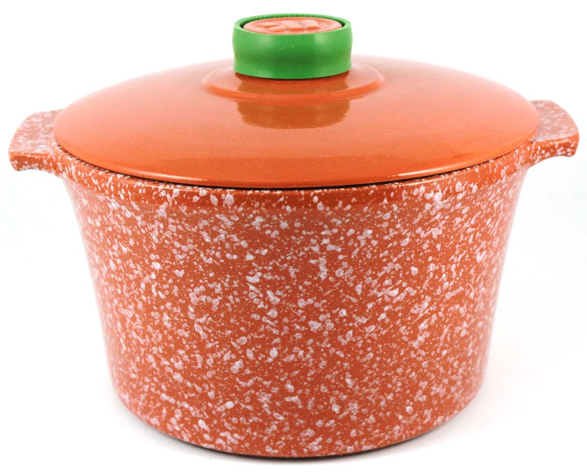 Кастрюля Ломоносовская керамика, 2 л, стеклянная крышка. Цвет: мрамор, терракотовый. 1КТмт-2С1КТмт-2С