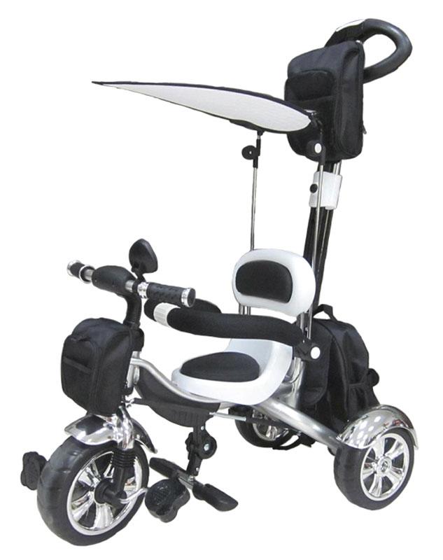 Pit Stop Велосипед детский трехколесный цвет черный белыйMT-BCL0815003Стильный дизайн. Ручка управления движением велосипеда (регулируемая на пять положений). Подножки для ног (складные). Регулируемый козырёк-тент. Три текстильные сумки для игрушек и мелочей. Барьер безопасности. Зеркало. Цвет: черно-белый.