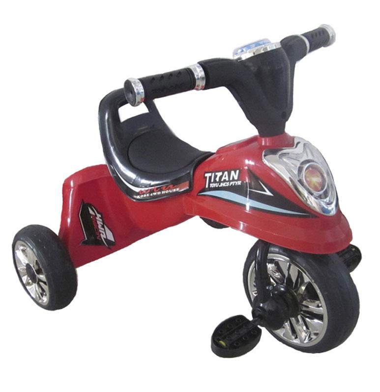 Pit Stop Велосипед детский трехколесный цвет красный MT-BCL0815007MT-BCL08150077-ми цветная светодиодная подсветка. Три мелодии. Дизайн, имитирующий образ мотоцикла. Разметка спидометра. Имитация передней фары. Цвет: красный.