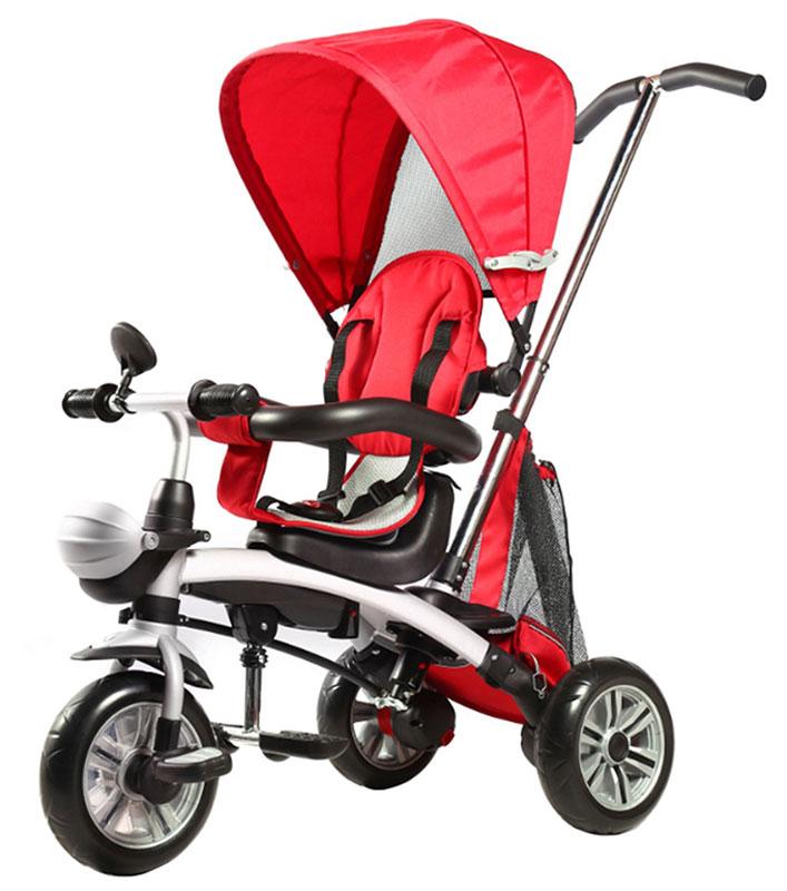 Pit Stop Велосипед-трансформер детский трехколесный цвет красныйMT-BCL0815009Велосипед-трансформер можно использовать от года и старше. Когда ребенок подрос и готов сам управлять велосипедом, можно убрать ручку, тент, соединить задние колеса и использовать изделие как обычный двухколесный велосипед, при этом, за счет двойного заднего колеса, велосипед остается устойчивым и не падает. Сиденье поворачивается на 360*. Барьер безопасности. Ремень безопасности. Зеркало. Подножки. Сумка для мелочей. Регулируемый тент. Цвет: красный.
