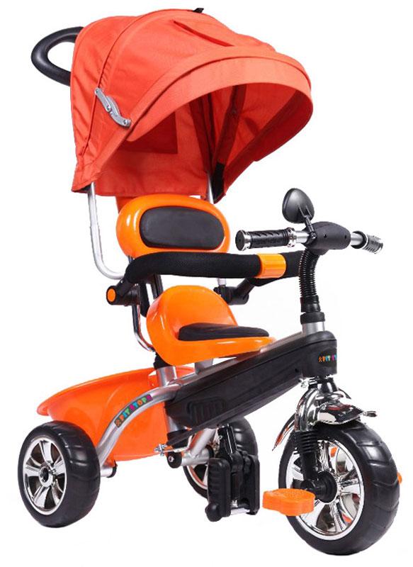 Pit Stop Велосипед детский трехколесный цвет оранжевый MT-BCL0815011MT-BCL0815011Мягкое сиденье. Барьер безопасности. Зеркало. Складные подножки. Корзина для мелочей. Ручка управления движением велосипеда. Регулируемый козырек. Цвет: оранжевый.