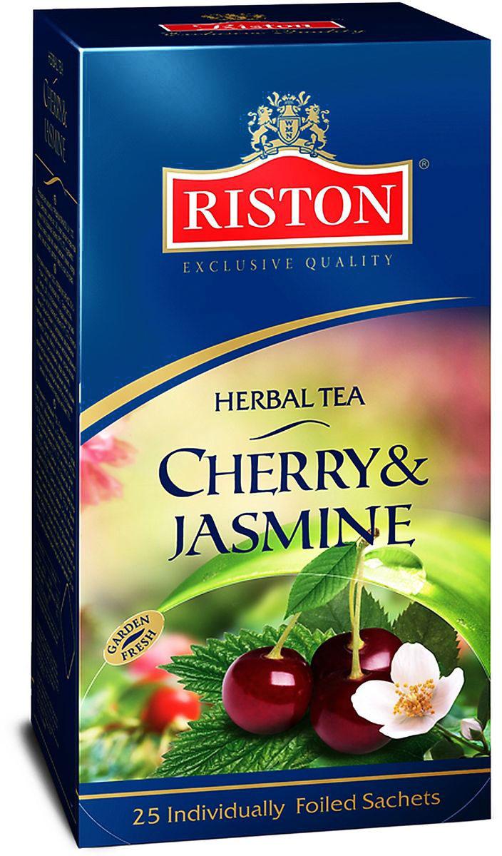 Riston Вишня-жасмин чай травяной в пакетиках, 25 шт4792156005126Насыщенный вишневый настой теплого рубинового цвета с плотным, мягким вкусом и густым обволакивающим ароматом, дополненным тонкими элегантными нотками жасмина.