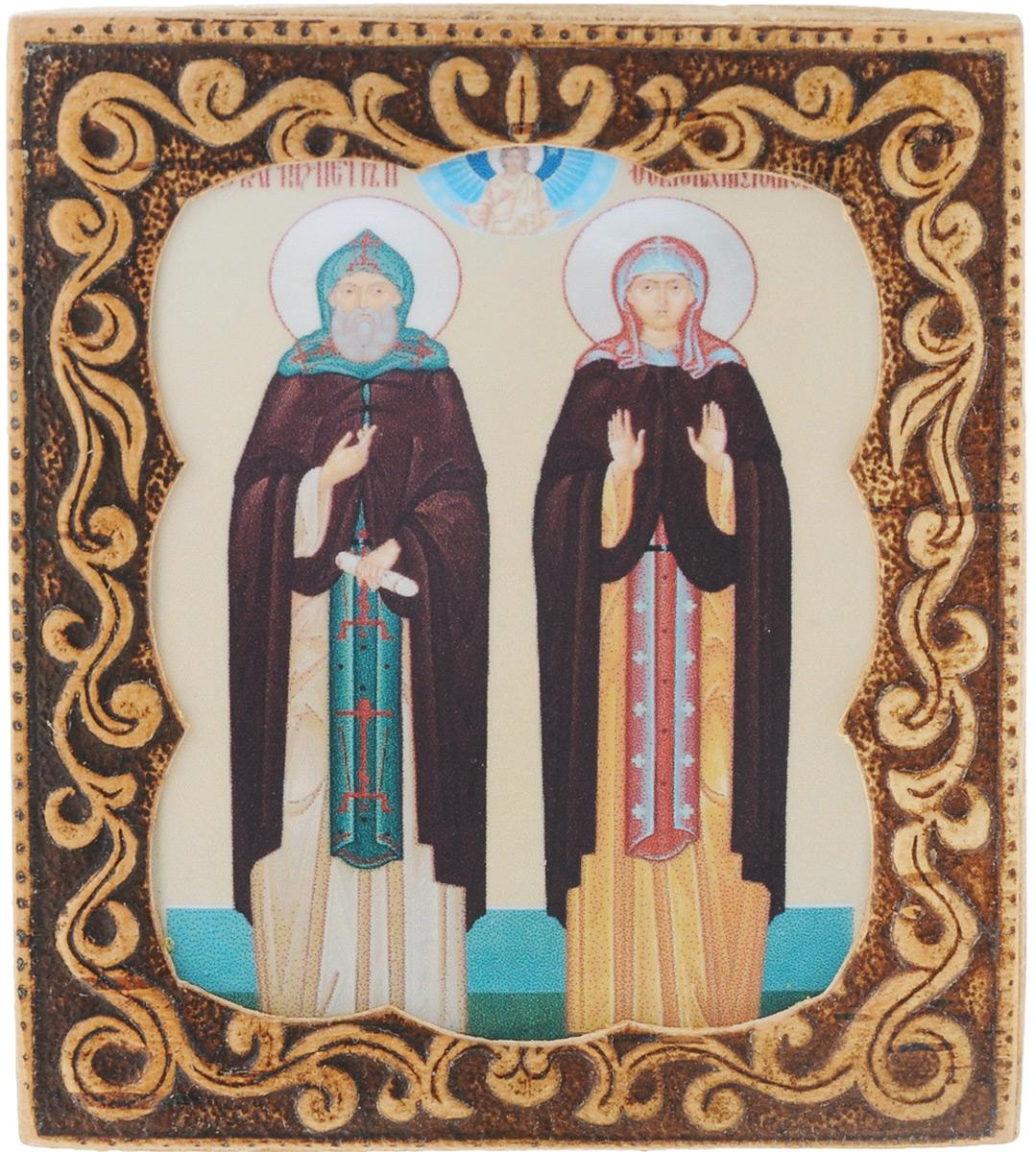Икона Sima-land Св. Перт и Февроньия, 6 х 6,5 см583641_Св. Перт и Февроньия