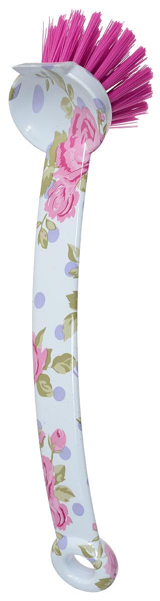 Еврощетка для посуды Youll love Розы, длина 23 см70879Еврощетка Youll love Розы, выполненная из полипропилена, предназначена для удаления грязи с различных предметов и оформлена цветочным принтом. Изделие имеет удобную длинную ручку с отверстием для подвешивания в любом удобном месте. Оригинальная и современная щетка сделает уборку приятнее. Длина щетины: 3 см. Длина ручки: 18 см. Диаметр рабочей поверхности: 4 см.