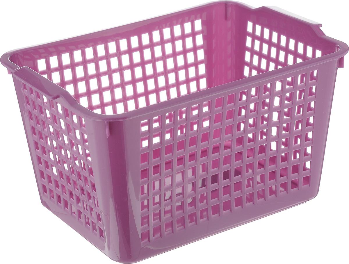 Корзинка Econova, цвет: фиолетовый, 27 х 19 х 14,5 см718341_фиолетовыйУниверсальная корзинка Econova изготовлена из высококачественного пластика с перфорированными стенками и сплошным дном. Такая корзинка непременно пригодится в быту, в ней можно хранить кухонные принадлежности, специи, аксессуары для ванной и другие бытовые предметы, диски и канцелярию.