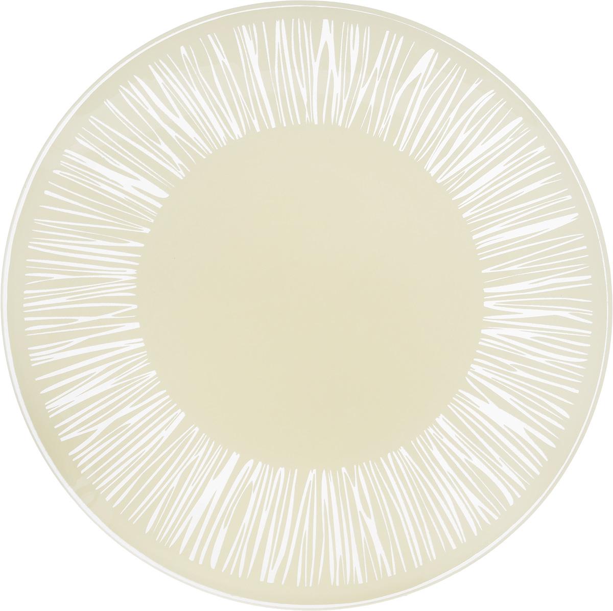 Тарелка NiNaGlass Витас, цвет: светло-бежевый, диаметр 20 см85-200-016/белТарелка NiNaGlass Витас изготовлена из высококачественного стекла. Изделие декорировано оригинальным дизайном. Такая тарелка отлично подойдет в качестве блюда, она идеальна для сервировки закусок, нарезок, горячих блюд. Тарелка прекрасно дополнит сервировку стола и порадует вас оригинальным дизайном. Диаметр тарелки: 20 см. Высота тарелки: 2,5 см.