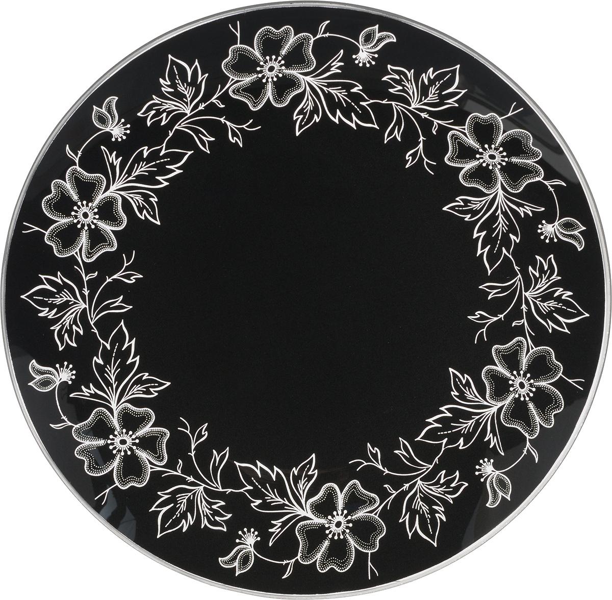 Тарелка NiNaGlass Лара, цвет: черный, диаметр 20 см85-200-075/чернТарелка NiNaGlass Лара выполнена из высококачественного стекла и оформлена красивым цветочным узором. Тарелка идеальна для подачи вторых блюд, а также сервировки закусок, нарезок, салатов, овощей и фруктов. Она отлично подойдет как для повседневных, так и для торжественных случаев. Такая тарелка прекрасно впишется в интерьер вашей кухни и станет достойным дополнением к кухонному инвентарю.