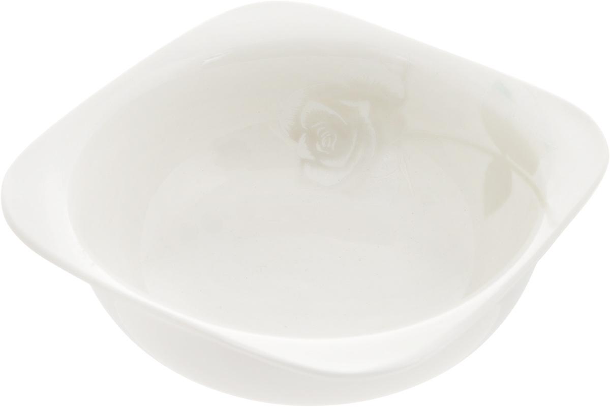 Салатник Жемчужная роза, 14 x 14 см216696Салатник Жемчужная роза изготовлен из фарфора с глазурованным покрытием. Такой салатник украсит сервировку вашего стола и подчеркнет прекрасный вкус хозяина, а также станет отличным подарком. Размер салатника (по верхнему краю): 14 х 14 см.