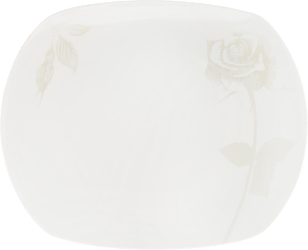 Блюдо Жемчужная роза, 30 x 24,5 см216697Оригинальное блюдо Жемчужная роза, изготовленное из фарфора с глазурованным покрытием, прекрасно подойдет для подачи нарезок, закусок и других блюд. Оно украсит ваш кухонный стол, а также станет замечательным подарком к любому празднику. Размер блюда: 30 x 24,5 см.