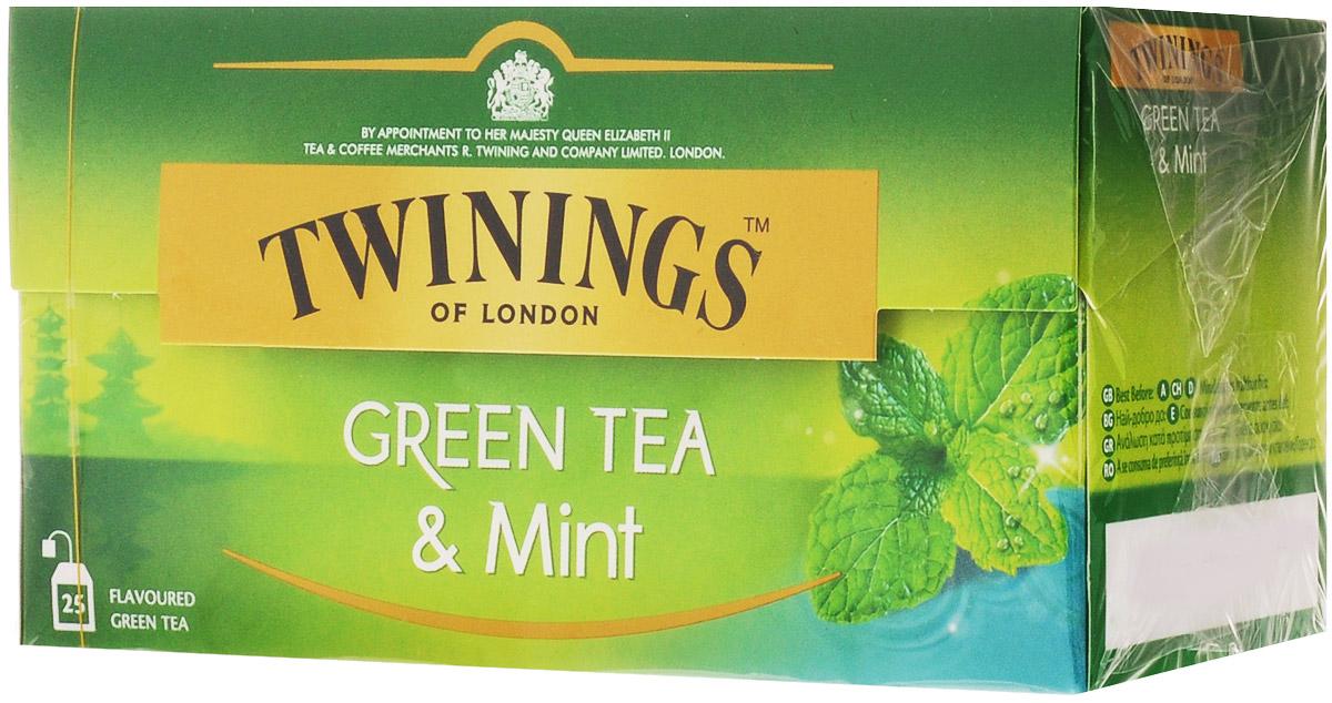 Twinings Mint чай зеленый в пакетиках, 25 шт070177173203Чай Twinings - это истинно английский напиток премиум-класса, который выпускается одним из лидеров международного рынка чая. Компания была основана в 1706 Томасом Твайнингом, который открыл свой частный чайный салон в Лондоне, на улице Стрэнд.