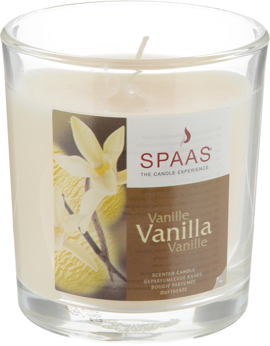 Свеча ароматизированная Spaas Ваниль, высота 8500140037Наливная ароматизированная свеча Spaas Ваниль в стеклянном подсвечнике в виде стакана наполнит дом приятным ароматом. Свеча изготовлена из парафина с добавлением натуральных красок и ароматизаторов, не выделяющих вредные вещества при горении. Фитиль выполнен из натурального хлопка. Оригинальная свеча с тонким, нежным ароматом добавит романтики в ваш дом и создаст неповторимую атмосферу уюта, тепла и нежности. Такая свеча не только поможет дополнить интерьер вашей комнаты, но и станет отличным подарком. Время горения: 25 ч.
