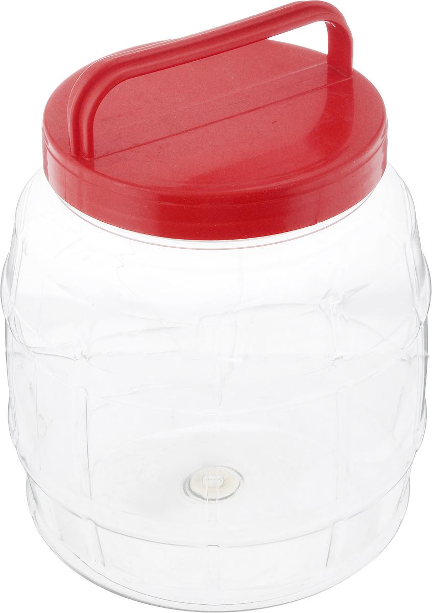 Банка Альтернатива Бочонок, цвет: красный, прозрачный, 2 лМ688_красный, прозрачныйБанка Альтернатива Бочонок, выполненная из высококачественного пластика, предназначена для хранения сыпучих продуктов или жидкостей. Крышка оснащена ручкой для удобной переноски. Высота банки (с учетом крышки): 18,5 см. Диаметр (по верхнему краю): 10,5 см.