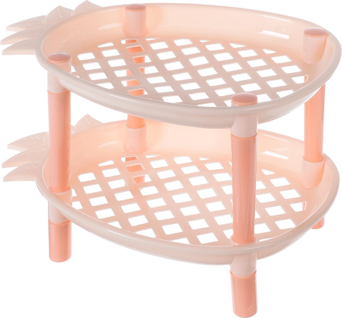 Этажерка 2-х ярусная Sima-land Ананас, цвет: персиковый, 27 х 19 х 18 см799813_персиковыйЭтажерка Sima-land Ананас выполнена из высококачественного прочного пластика. Содержит 2 полки в форме ананаса, оформленные перфорацией в виде ромбов. Этажерка предназначена для хранения различных бытовых предметов в ванне, комнате и на кухне. Легко складывается и раскладывается. Размер этажерки: 27 х 19 х 18 см. Размер полки: 27 х 19 х 3 см.