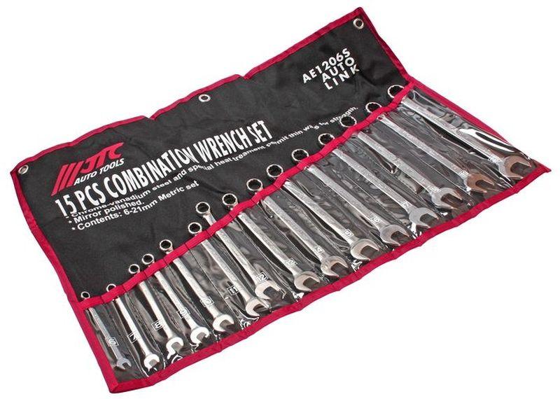 Набор комбинированных ключей JTC, 15 предметов. JTC-AE1206SJTC-AE1206SНабор ключей комбинированных JTC 15 предметов Материал: хром-ванадиевая сталь, повышающий износостойкость инструментов. При производстве также использовалась термообработка стали, повышающая прочность. Зеркальная полировка улучшает внешний вид и исключает возможность появления трещин и металлических заусенцев. Размеры в комплекте: 6, 7, 8, 9, 10, 11, 12, 13, 14, 15, 16, 17, 18, 19, 21 мм. Общее количество ключей: 15. Упаковка: компактный тряпичный планшет. Габаритные размеры: 270/95/95 мм. (Д/Ш/В) Вес: 1462 г.