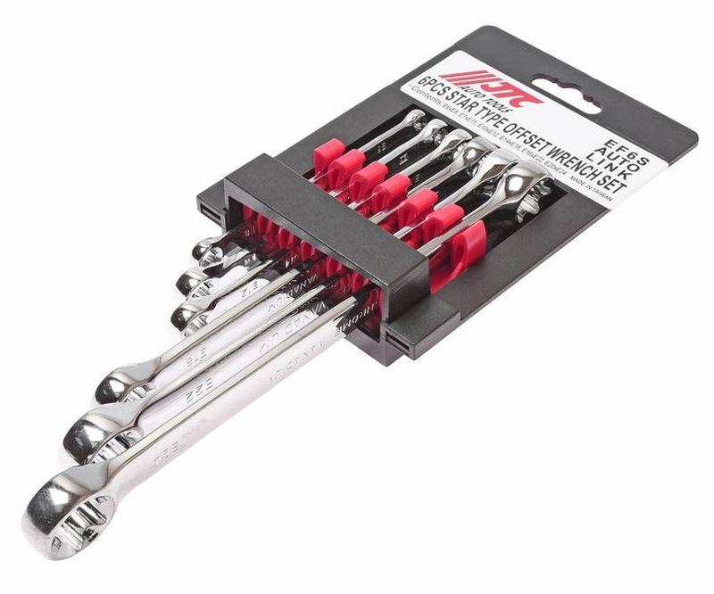 Набор накидных ключей JTC, 6 предметов. JTC-EF6SJTC-EF6SИнструменты изготовлены из хром-молибденовой стали, обладают повышенной прочностью. Зеркальная полировка. Размеры в комплекте: E6xE8, Е7хЕ11, Е10хЕ12, Е14хЕ18, Е16хЕ22, Е20хЕ24. Общее количество ключей: 6. Габаритные размеры: 290/110/40 мм. (Д/Ш/В) Вес: 536 гр.