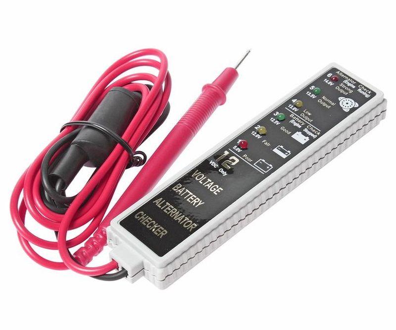 Тестер для аккумуляторной батареи и генератора JTC. JTC-J027JTC-J027Тестер для аккумуляторной батареи и генератора JTC - прост и удобен в применении, имеет магнит на задней панели для возможности освобождения обеих рук. Устройство оснащено световыми индикаторами состояния аккумуляторной батареи: полная зарядка, частичная разрядка, полная разрядка. Также аппарат отображает показатели выходной мощности генератора. Технические характеристики: - на передней панели имеется информационная шкала с шестью разноцветными светодиодами: 5,0 –12,0 – 12,5 – 13,0 – 13,5 – 14,0 V. - корпус индикатора – брызгозащитный и не боится вибраций. - тип измеряемого тока: постоянный. - диапазон измеряемого напряжения, В: 5,0-14,0. Погрешность, В: 0,03