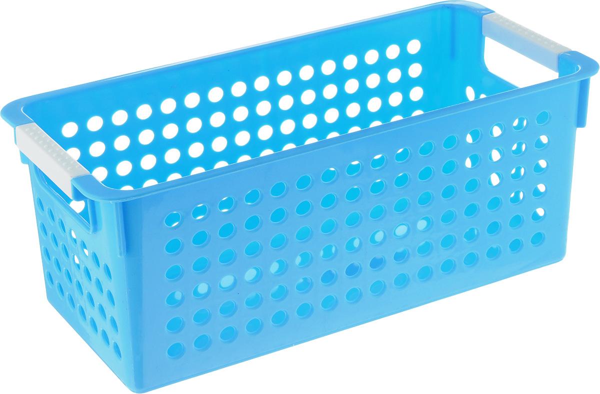 Корзина для мелочей Sima-land Решето, цвет: голубой, 29 х 14 х 12 см848402_голубойКорзина для мелочей Sima-land Решето изготовлена из прочного пластика с перфорированными стенками и сплошным дном. Корзина снабжена двумя ручками для переноски. В ней удобно хранить различные мелочи: бытовые предметы, аксессуары для шитья, принадлежности для ванны и кухни. Такая корзина обязательно пригодится в любом хозяйстве.