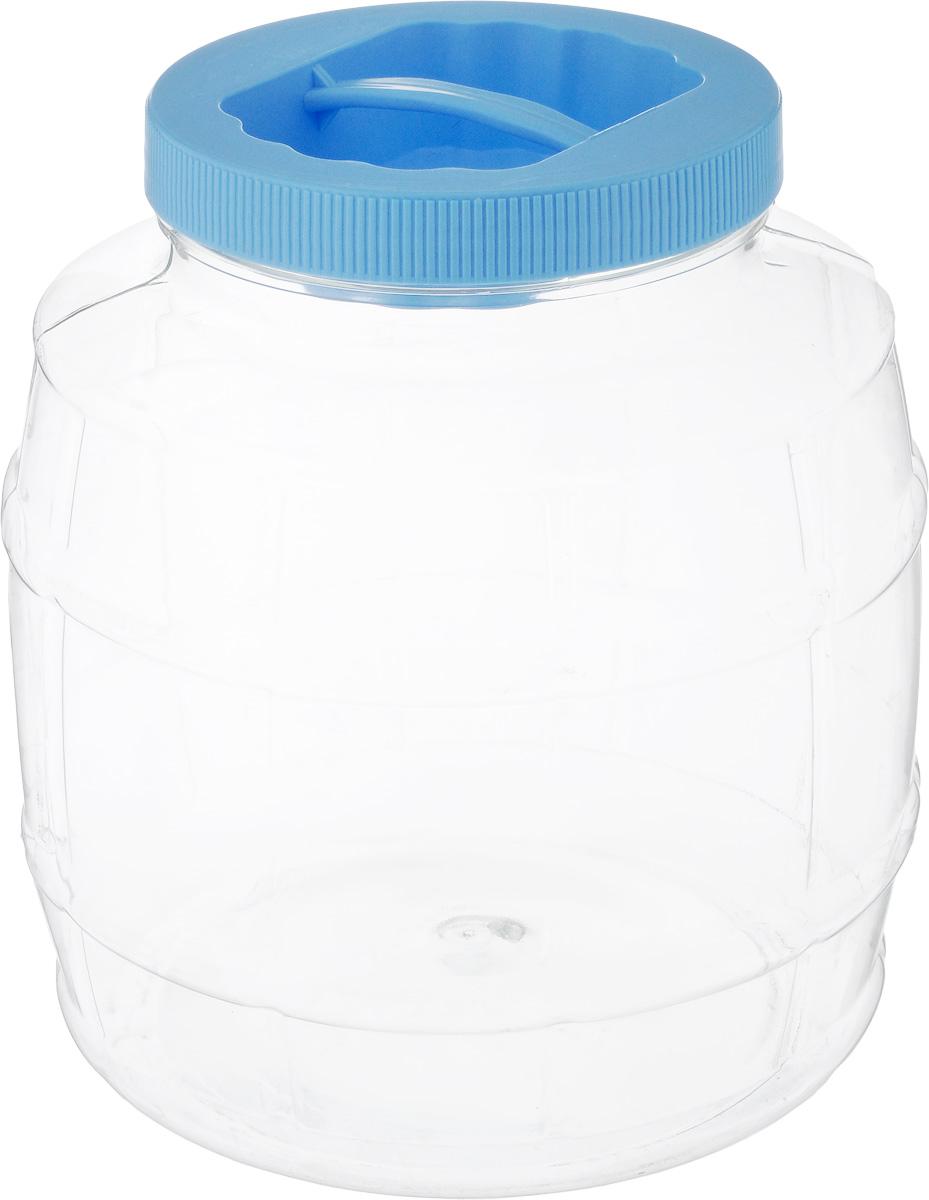 Банка Альтернатива Бочонок, цвет: голубой, прозрачный, 3 лМ677/прозрачный/голубойБанка Альтернатива Бочонок, выполненная из высококачественного пластика, предназначена для хранения сыпучих продуктов или жидкостей. Крышка оснащена ручкой для удобной переноски. Высота банки (с учетом крышки): 18 см. Диаметр (по верхнему краю): 10,5 см.