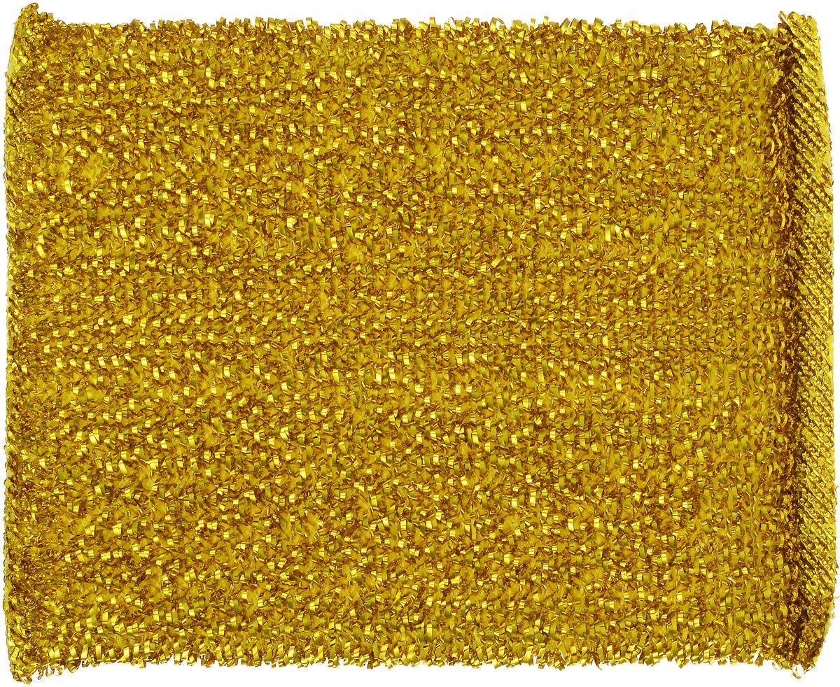 Губка для мытья посуды Home Queen, с металлизированной нитью, цвет: золотой, 12 х 9 х 2 см37_золотойГубка для мытья посуды Home Queen изготовлена из поролона в чехле из полипропиленовой металлизированной нити. Предназначена для мытья посуды и очистки сильно загрязненных кухонных поверхностей. Удобна в применении. Позволяет экономить моющее средство, благодаря структуре поролона, который дает много пены при использовании.